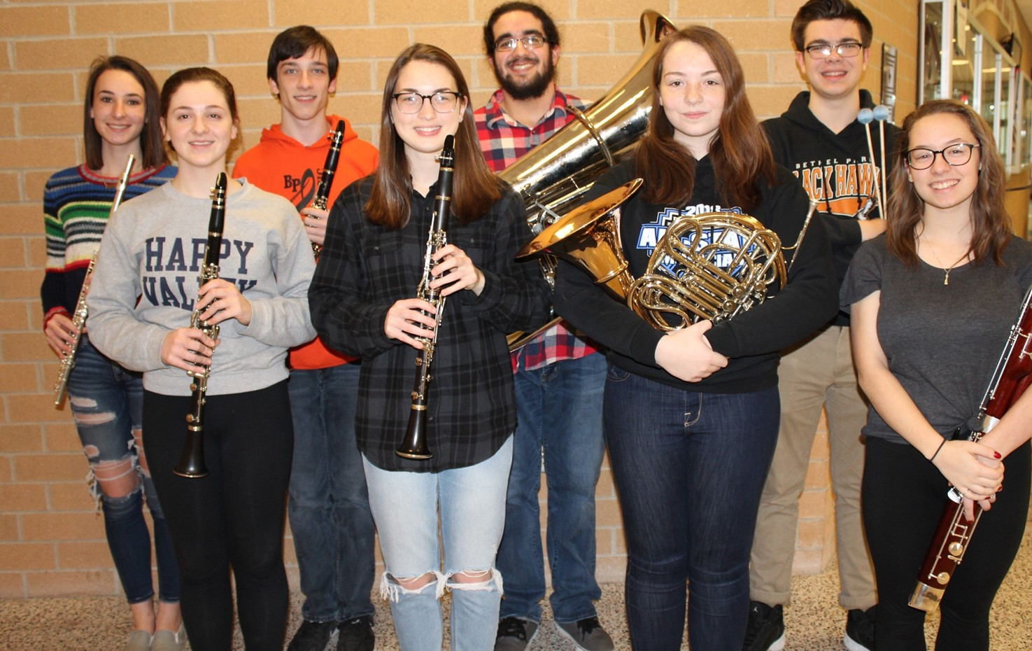 Eight BPHS District Band Musicians