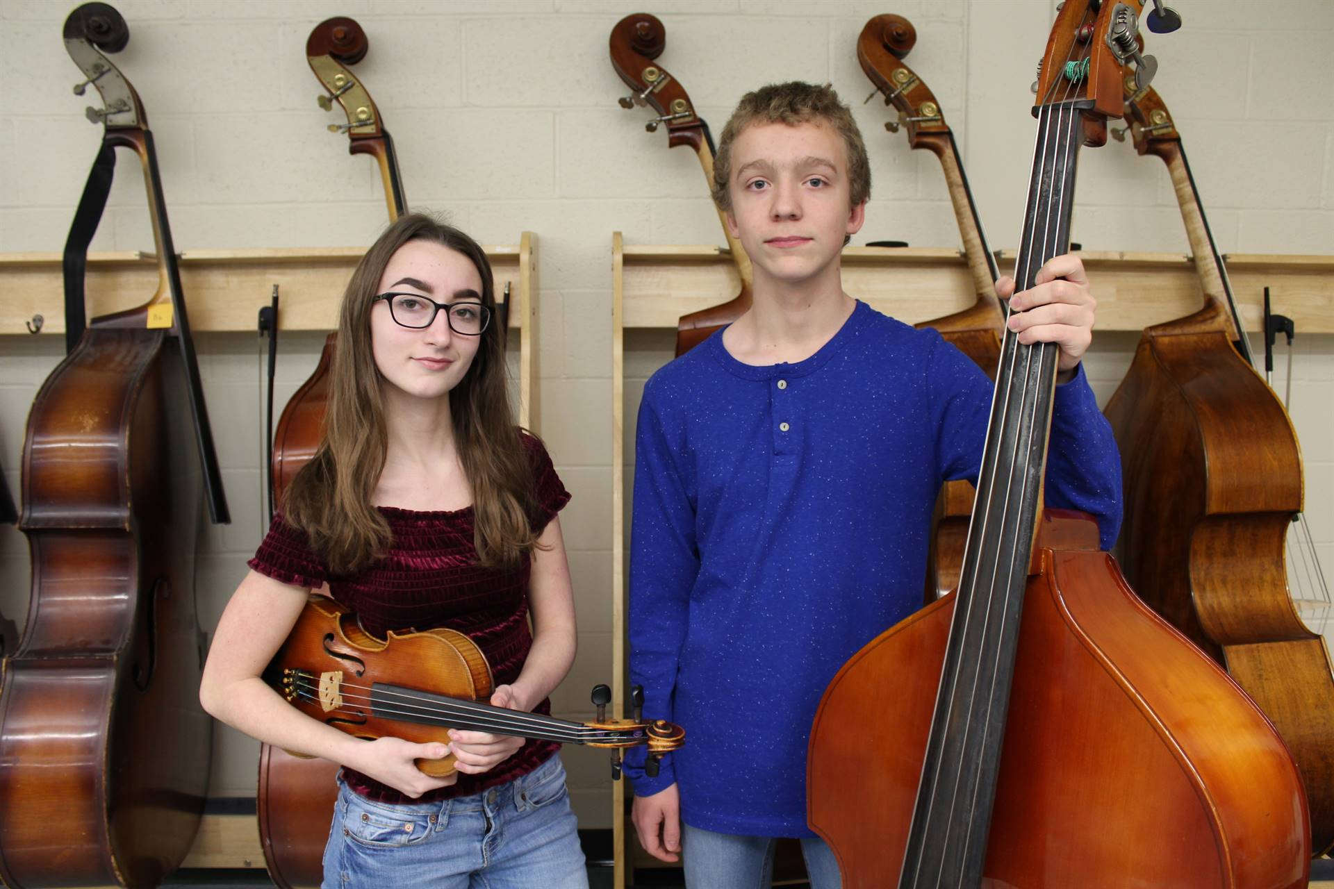 2 BPHS Junior High District Orchestra musicians