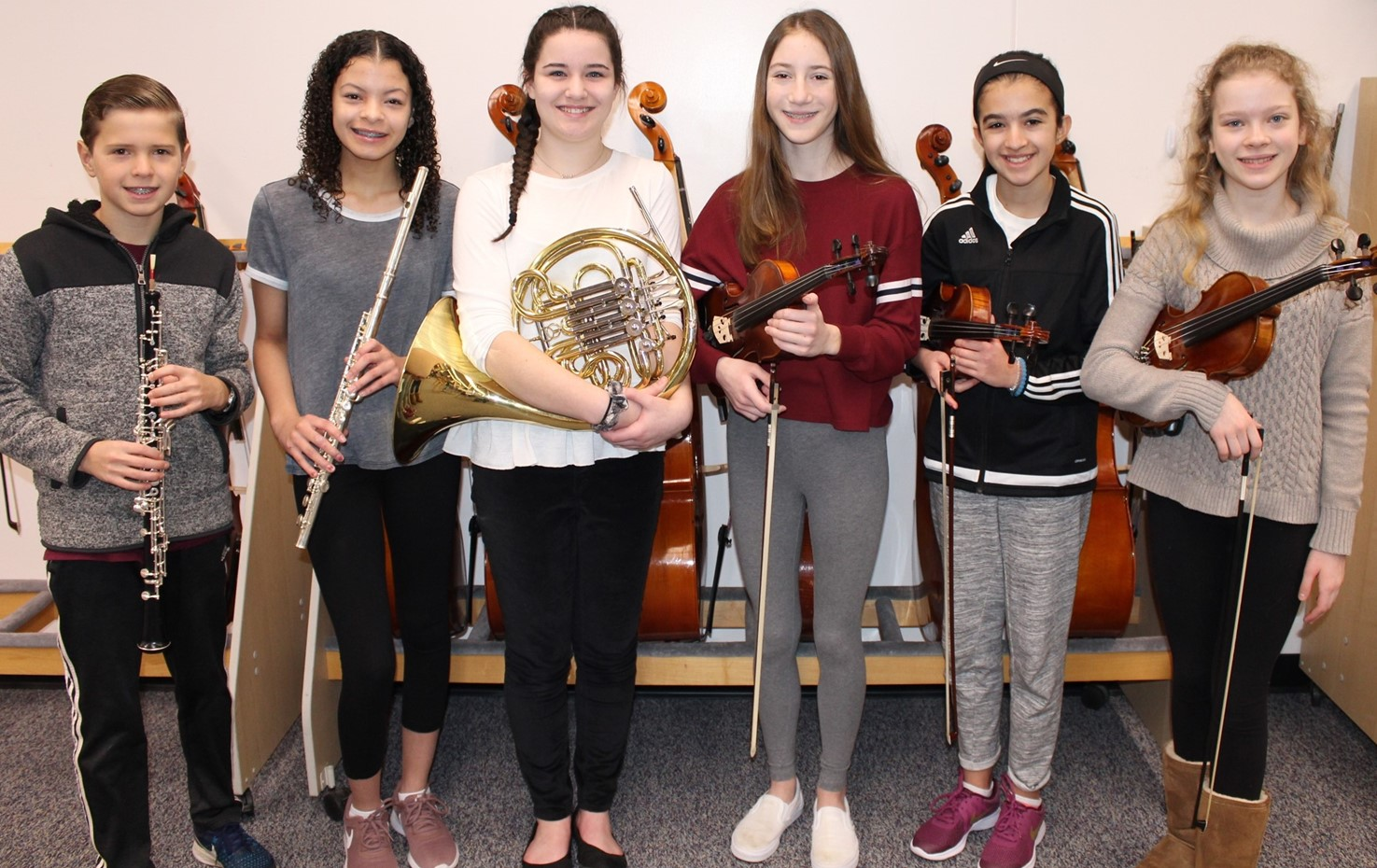 Six IMS Junior High District Orchestra Musicians