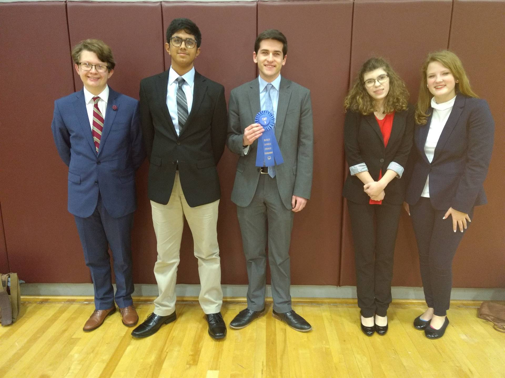 The five competitors at the Quigley Forensics Tournament