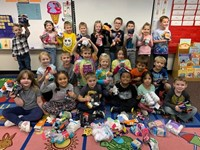 Students with some of the donated socks