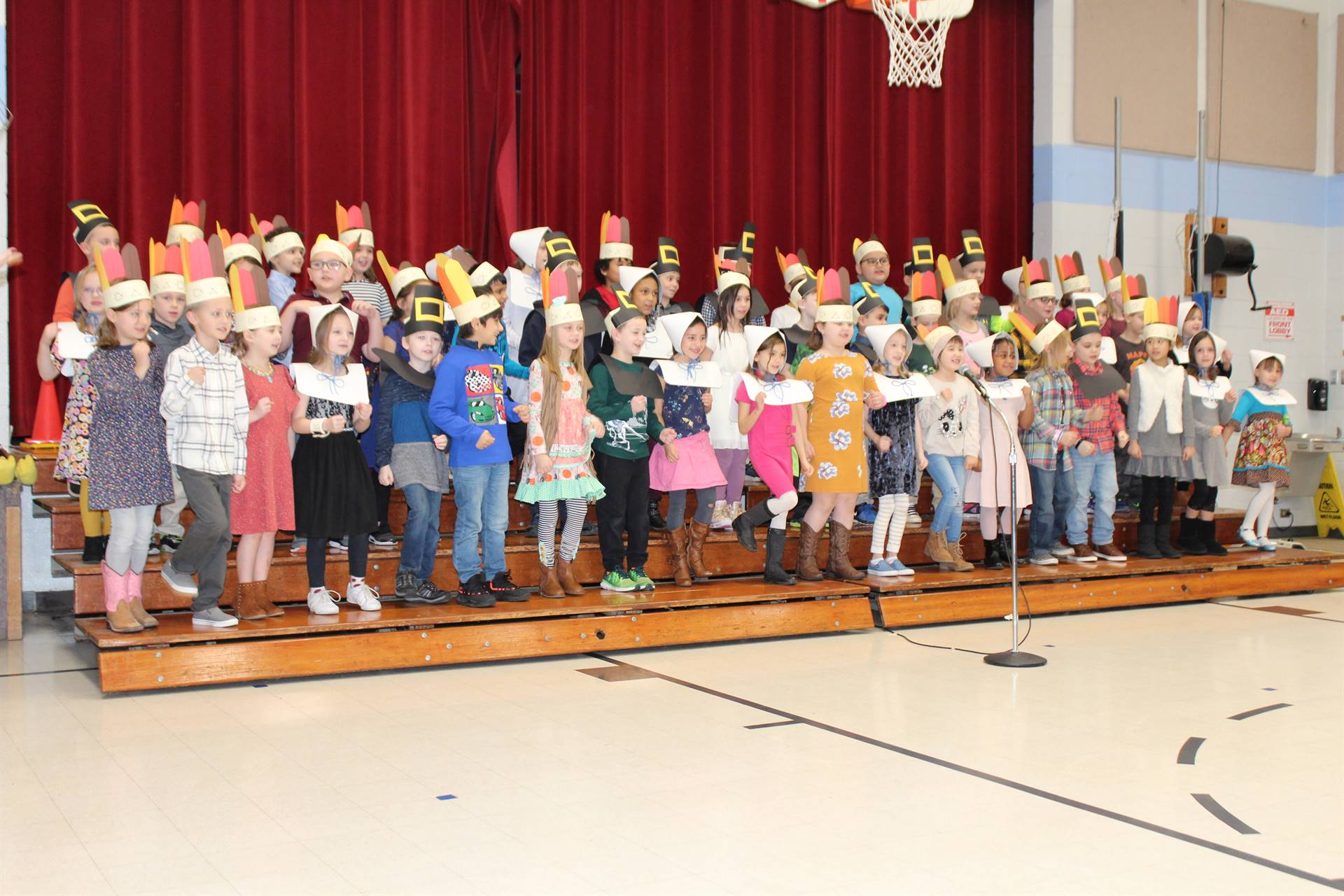 First Graders performing a Thanksgiving play