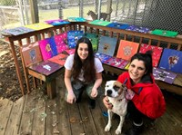 Students at the shelter with the portraits and one of the dogs