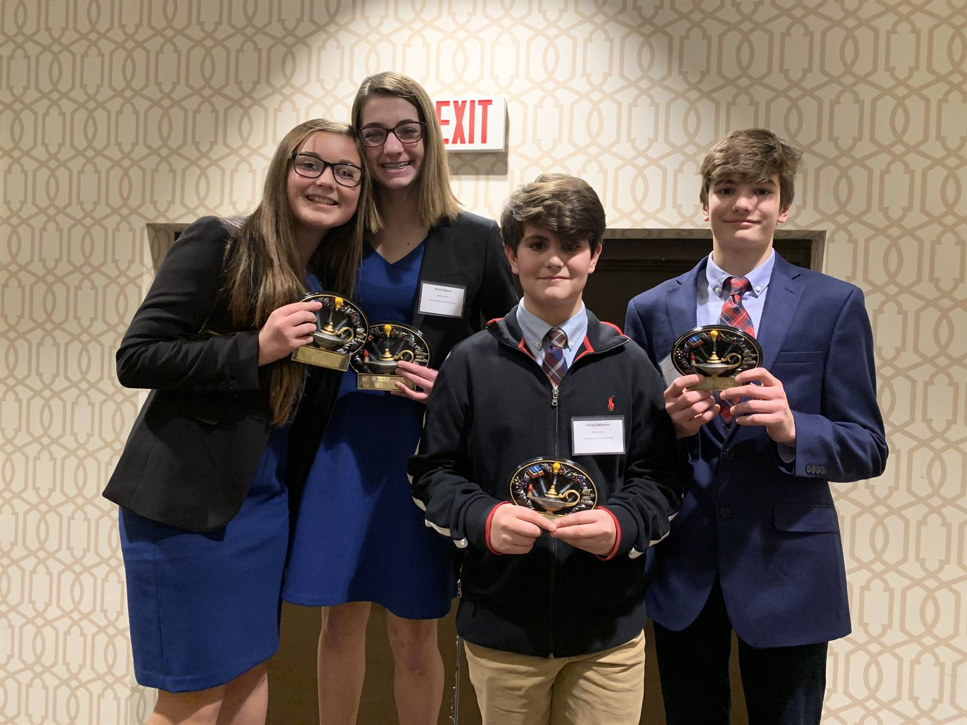 The four students who won the Entrepreneurship Team event