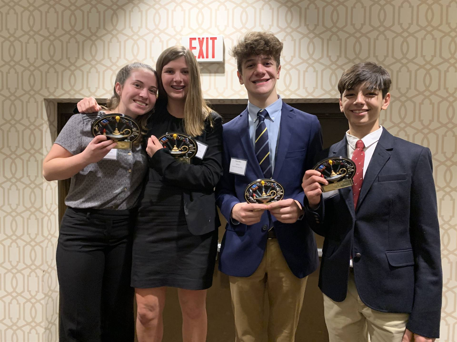 The four students who won the Buying and Merchandising Event