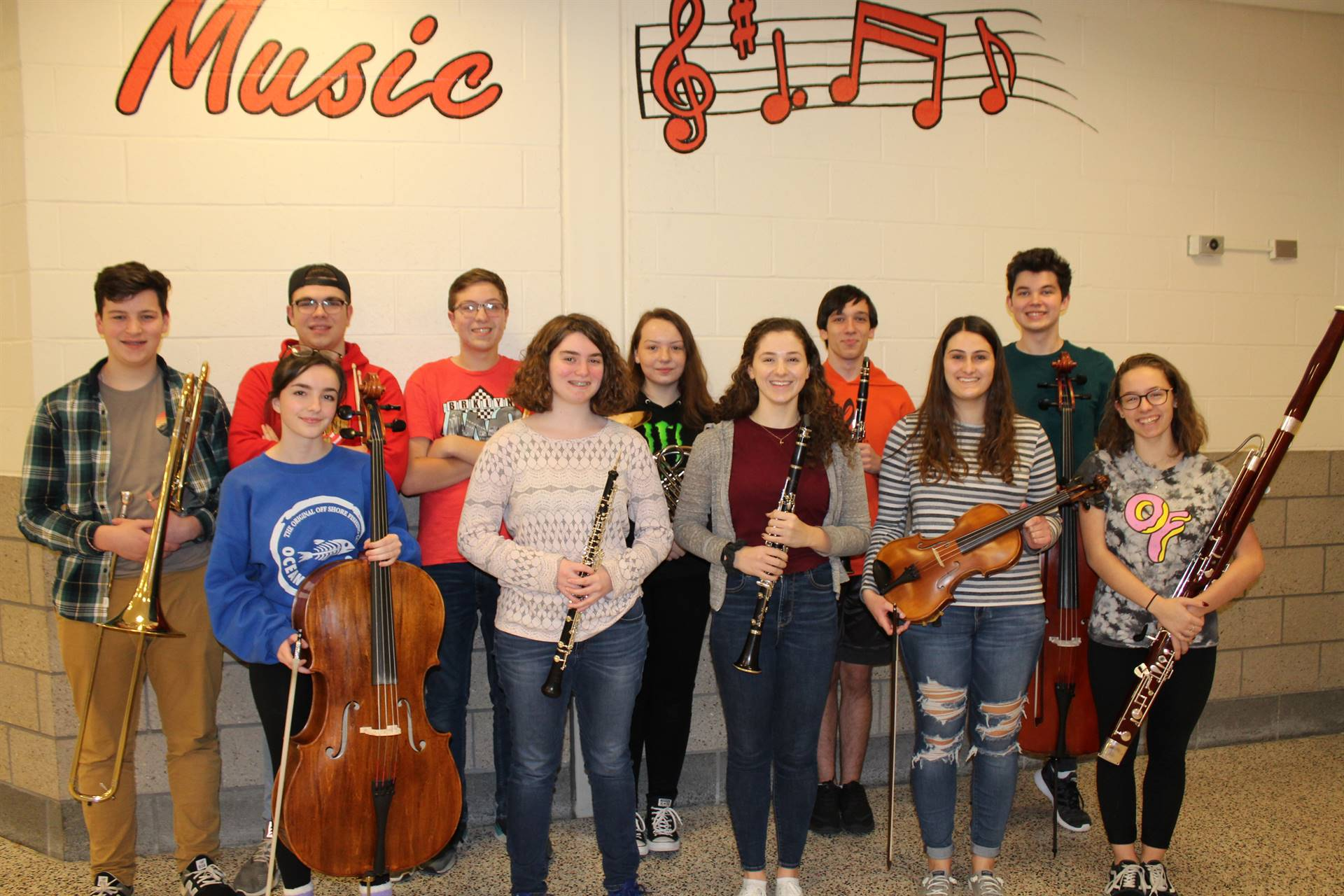 The 11 District Orchestra musicians