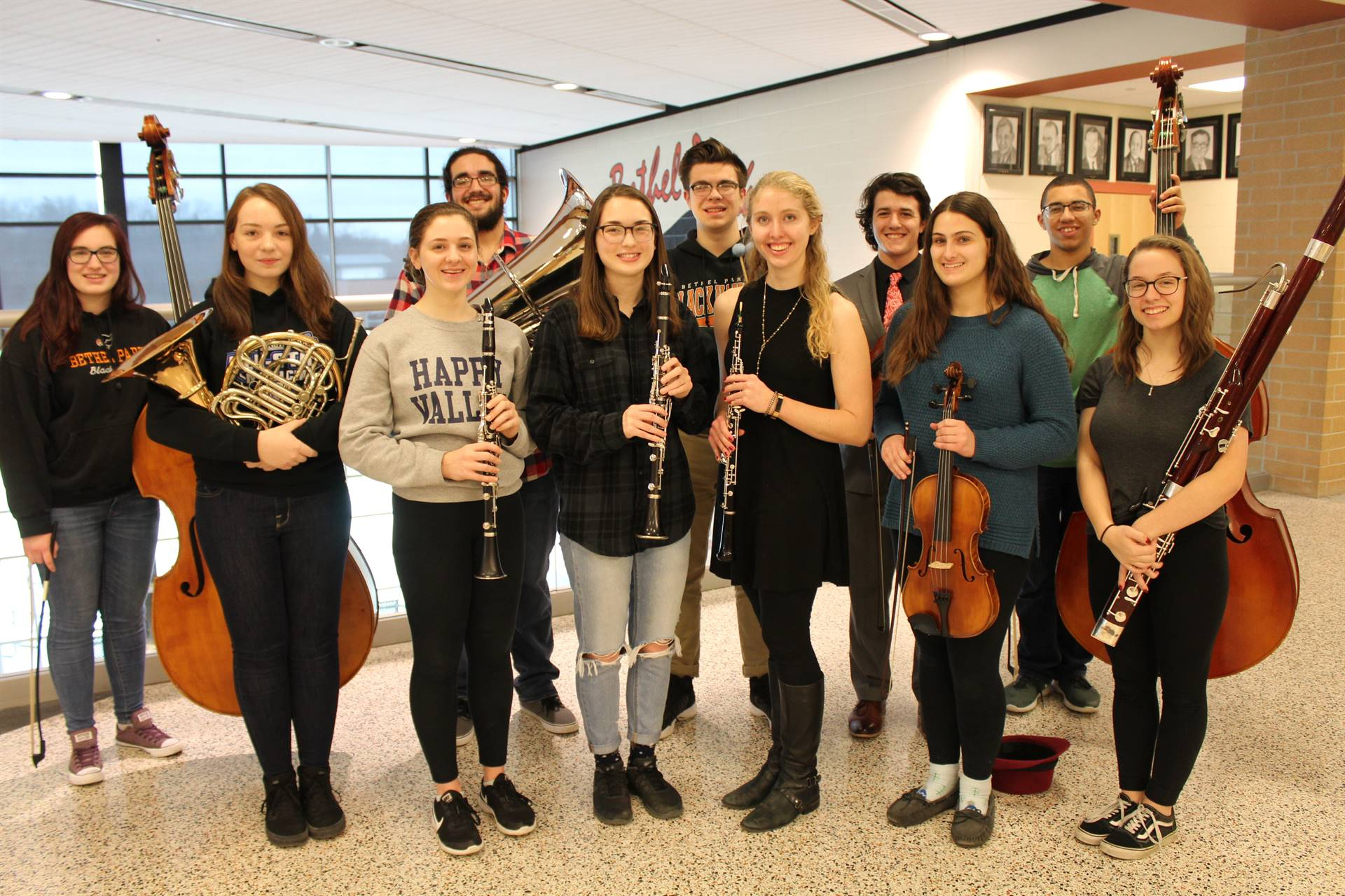 11 of the 13 District Orchestra musicians