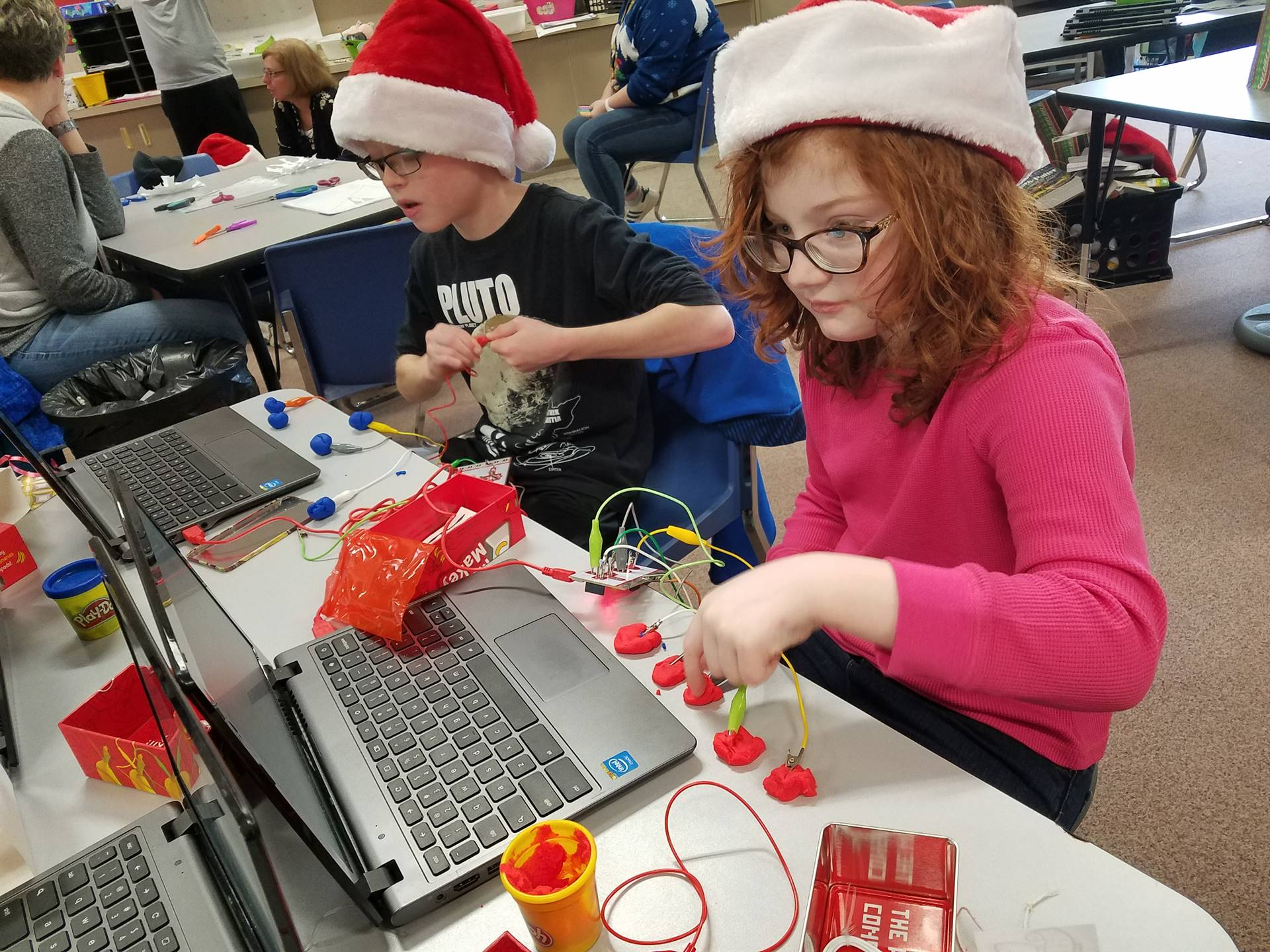 Two students working with Makeys