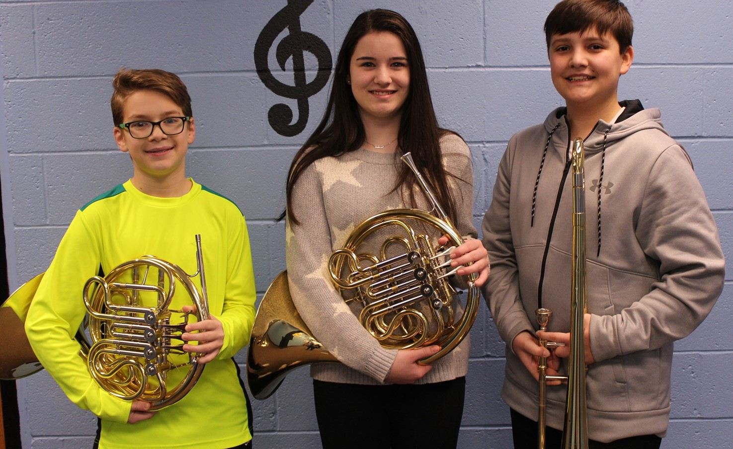 Three of the four IMS Junior High District Band Musicians