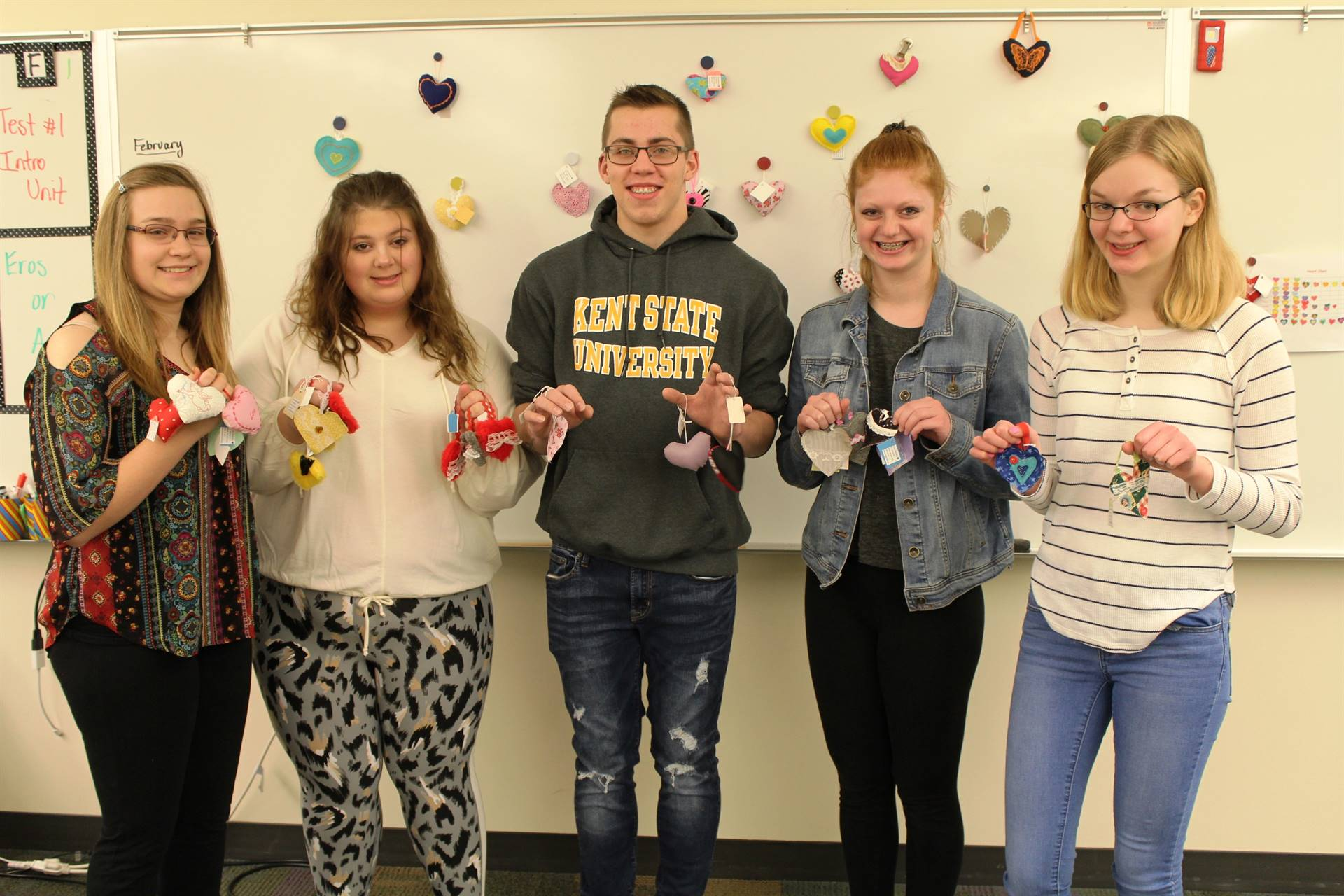 Five Sewing Class Students with their Handmade Hearts