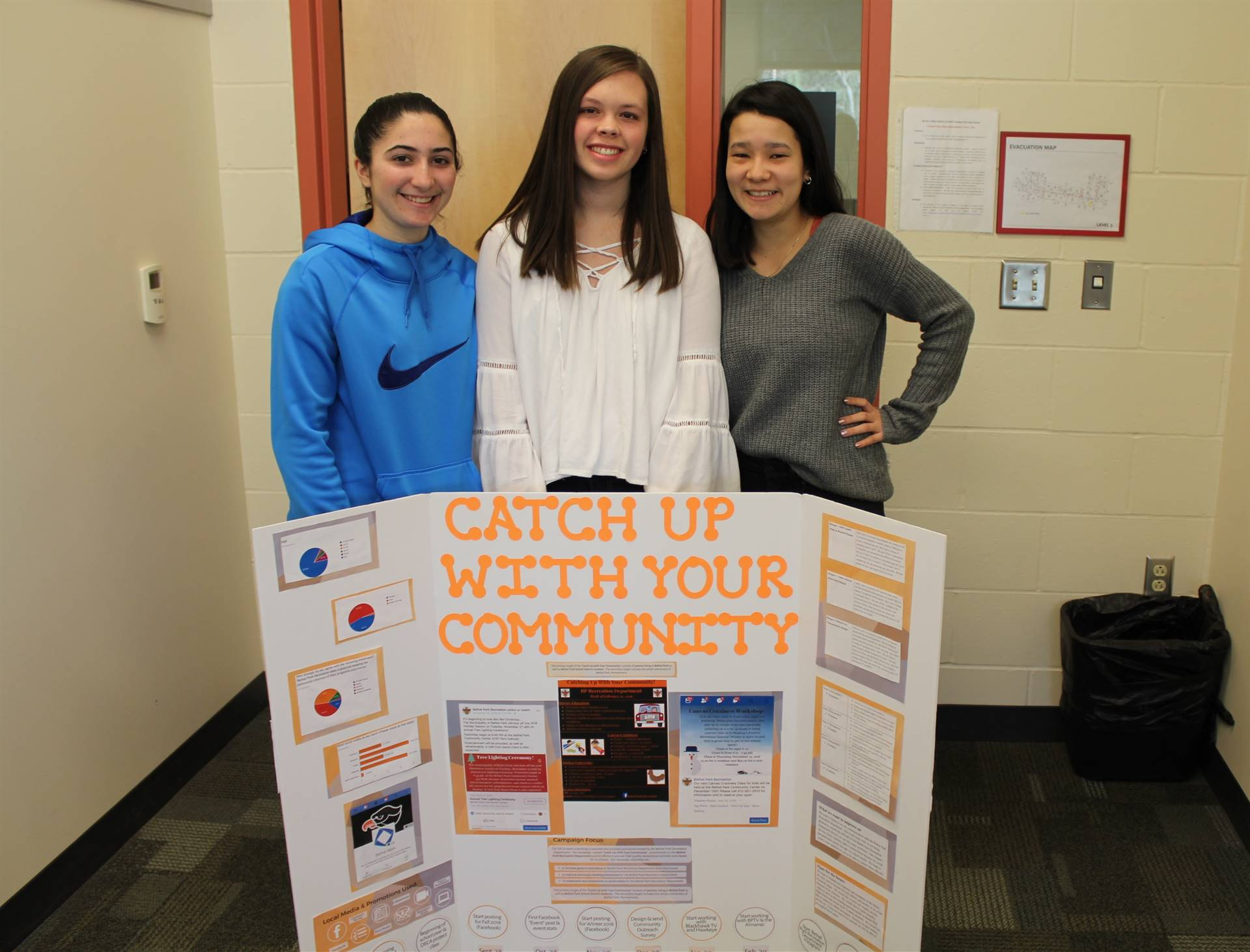 The three students partnering with the BP Rec Department