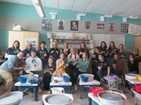 Mr. Hooton and his students with their bowls