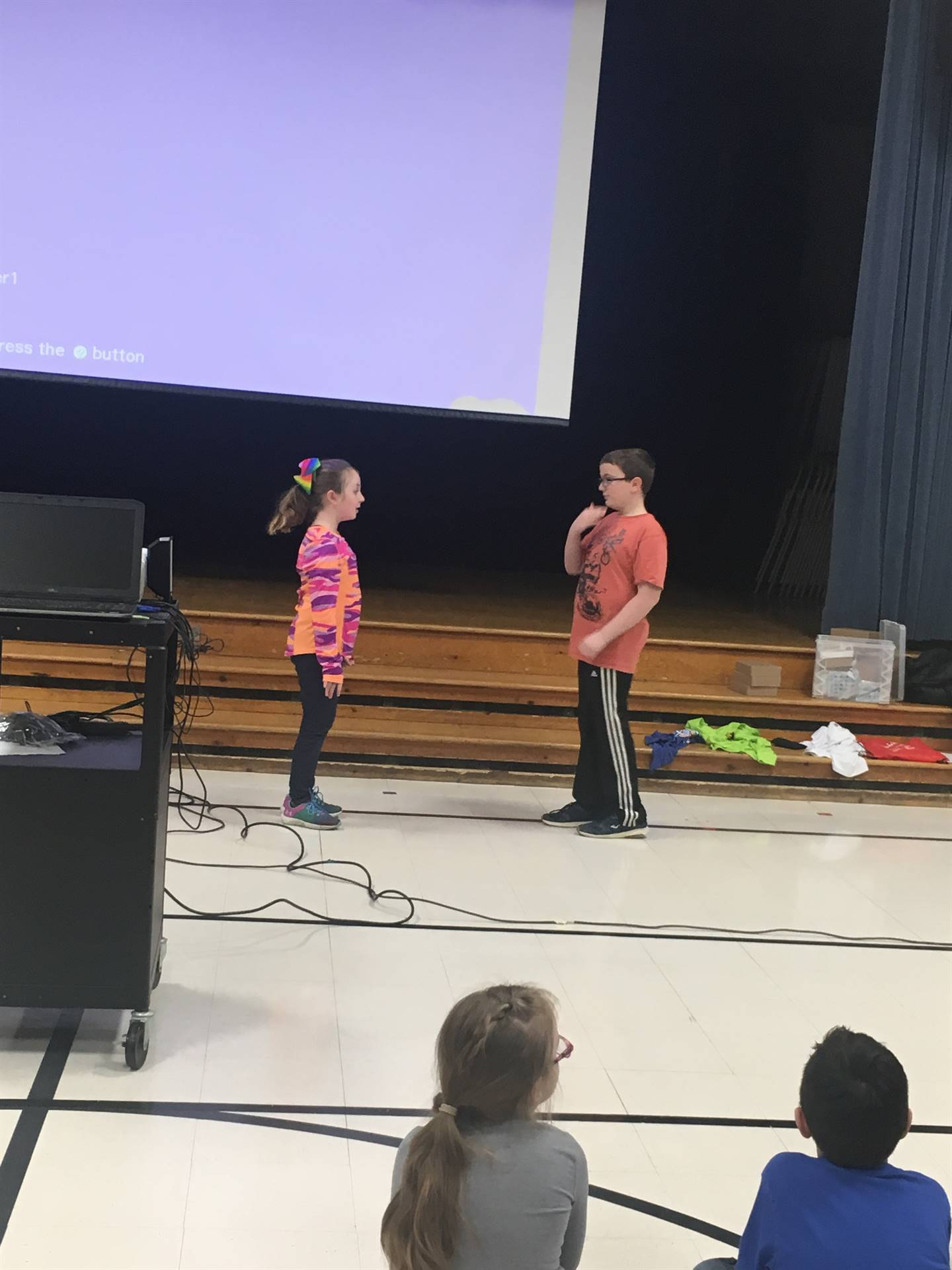 Two students at the Kick Off Assembly