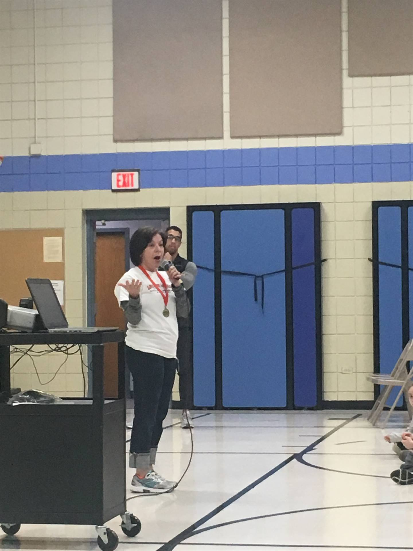 Mrs. DeGregorio at the kick off assembly