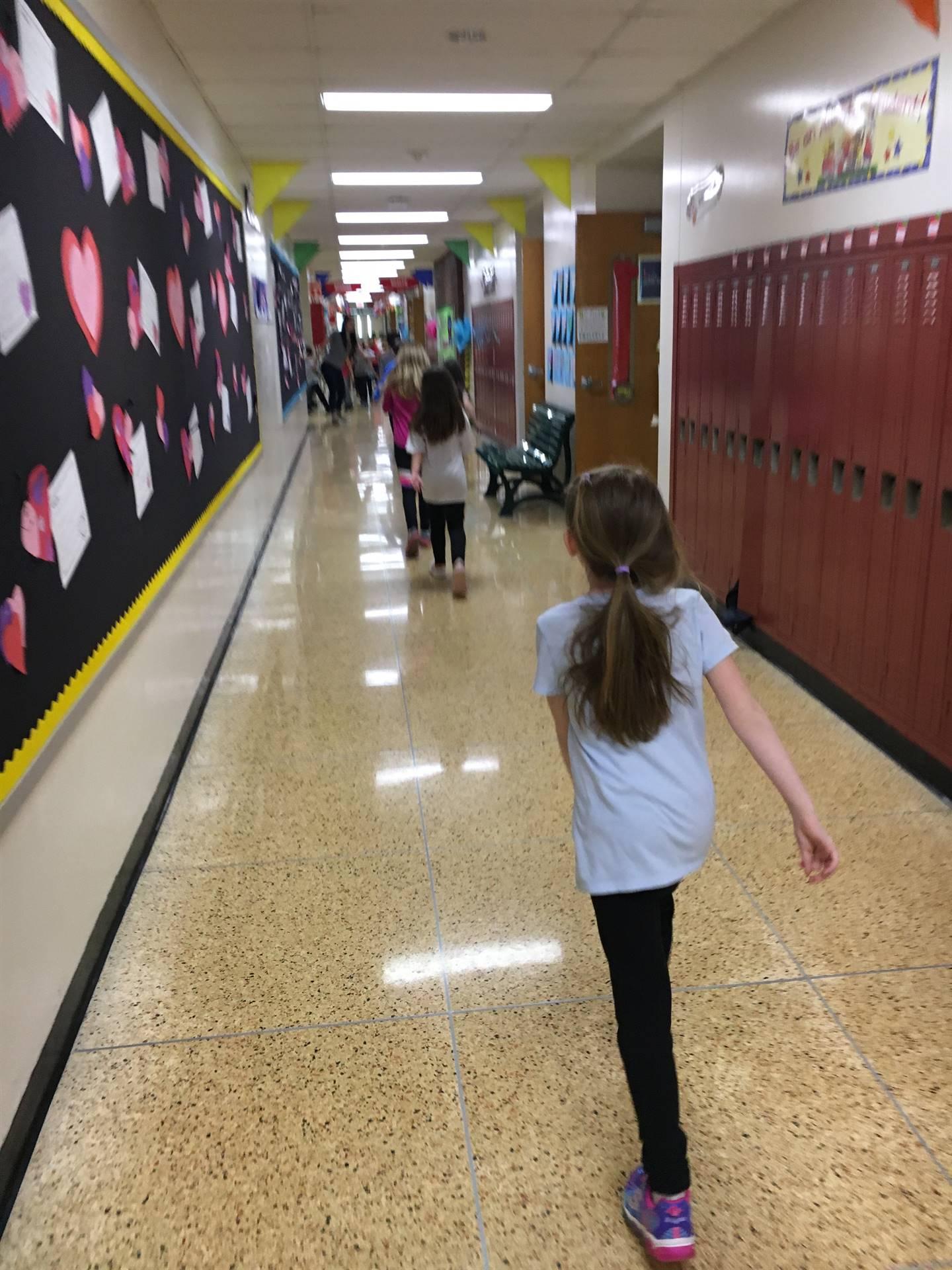 Students walking inside