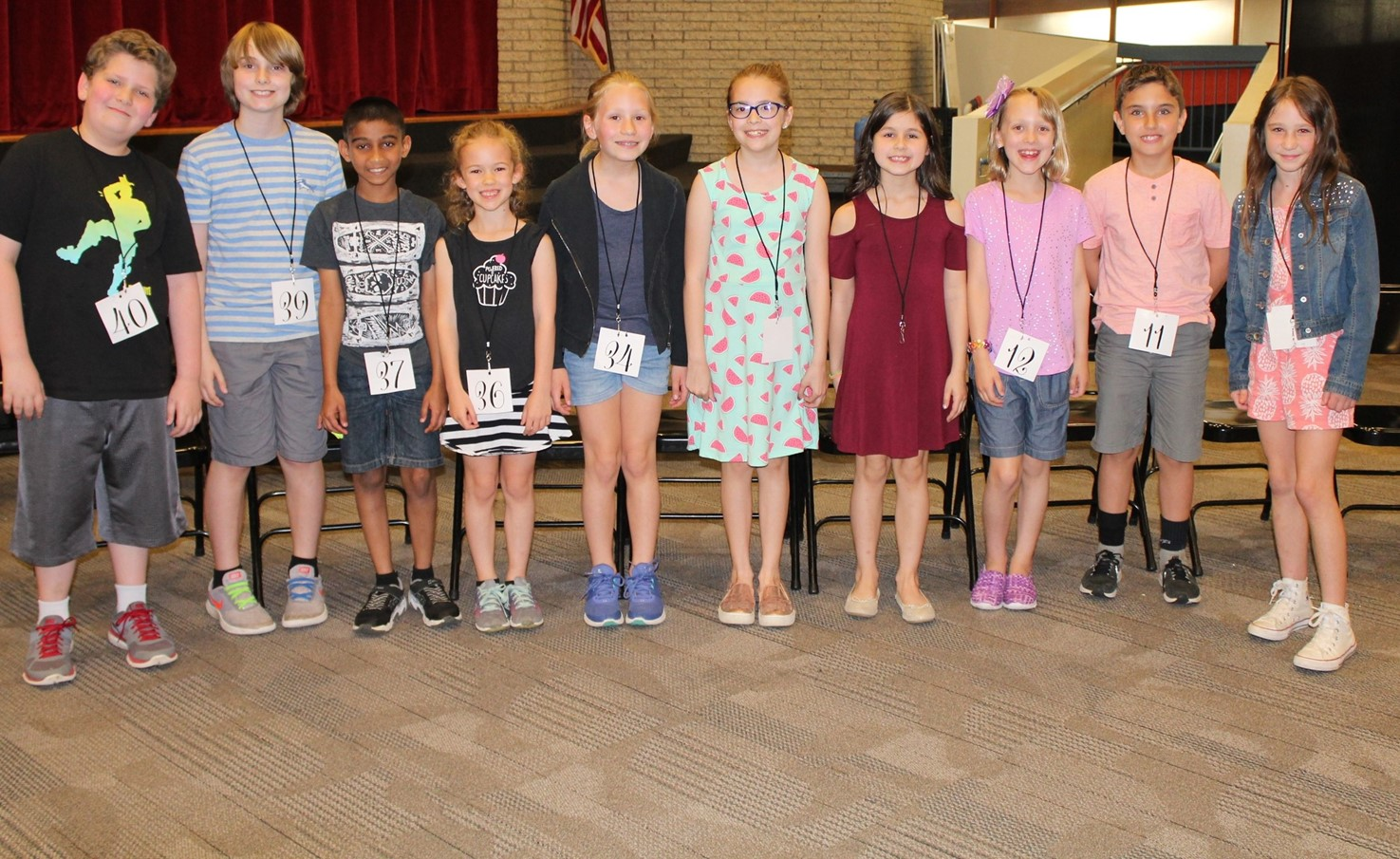 The Top 10 Spellers in the Rotary Third Grade Spelling Bee
