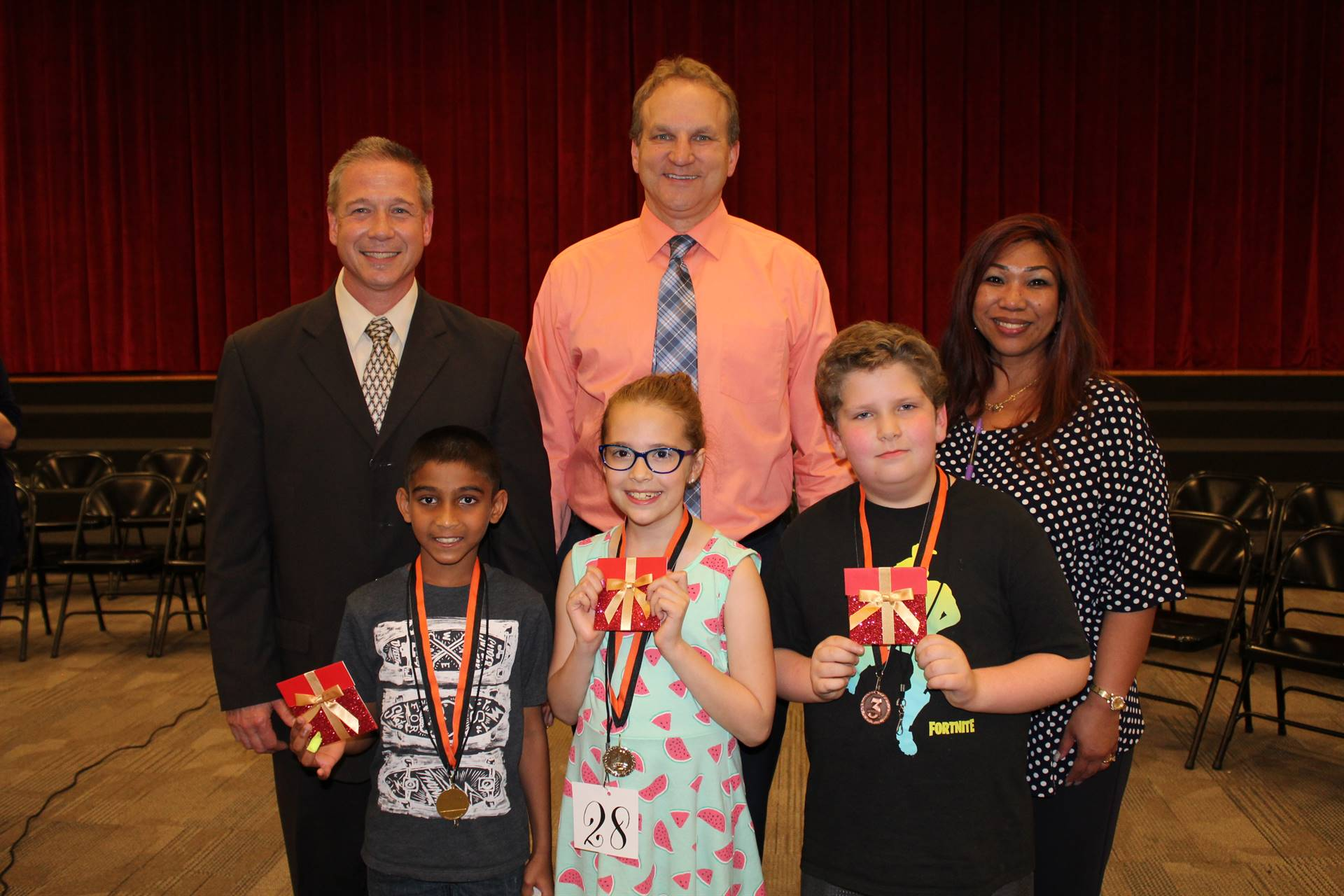 The Top 3 spellers and their Principals