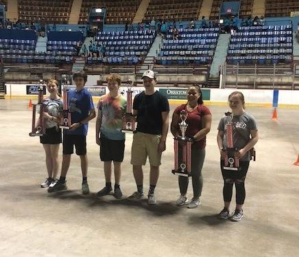 Six BPHS students with the trophies from the Ninth Grade Spring Music Trip to Hershey