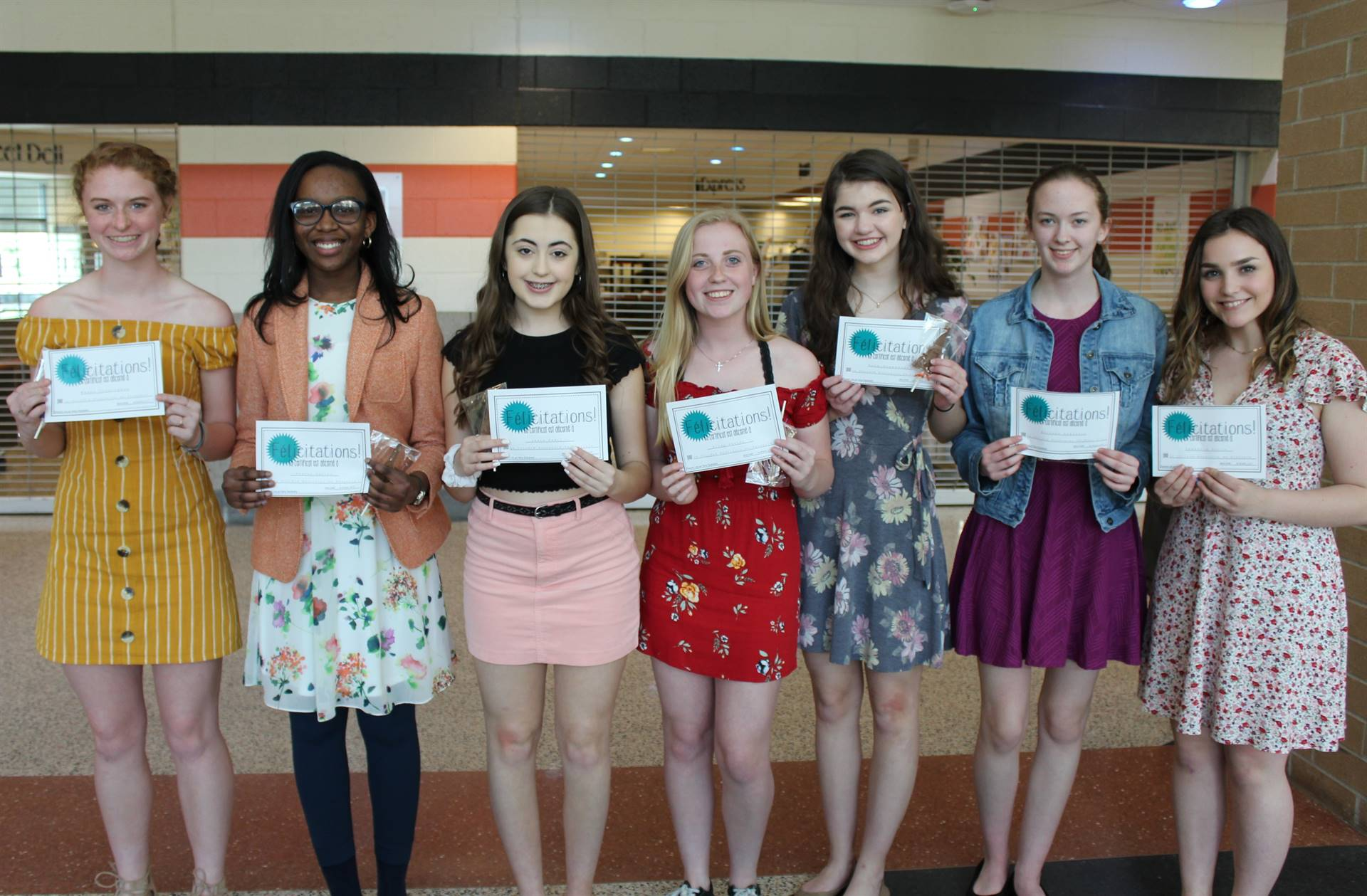 Seven of the new BPHS French National Honor Society Inductees