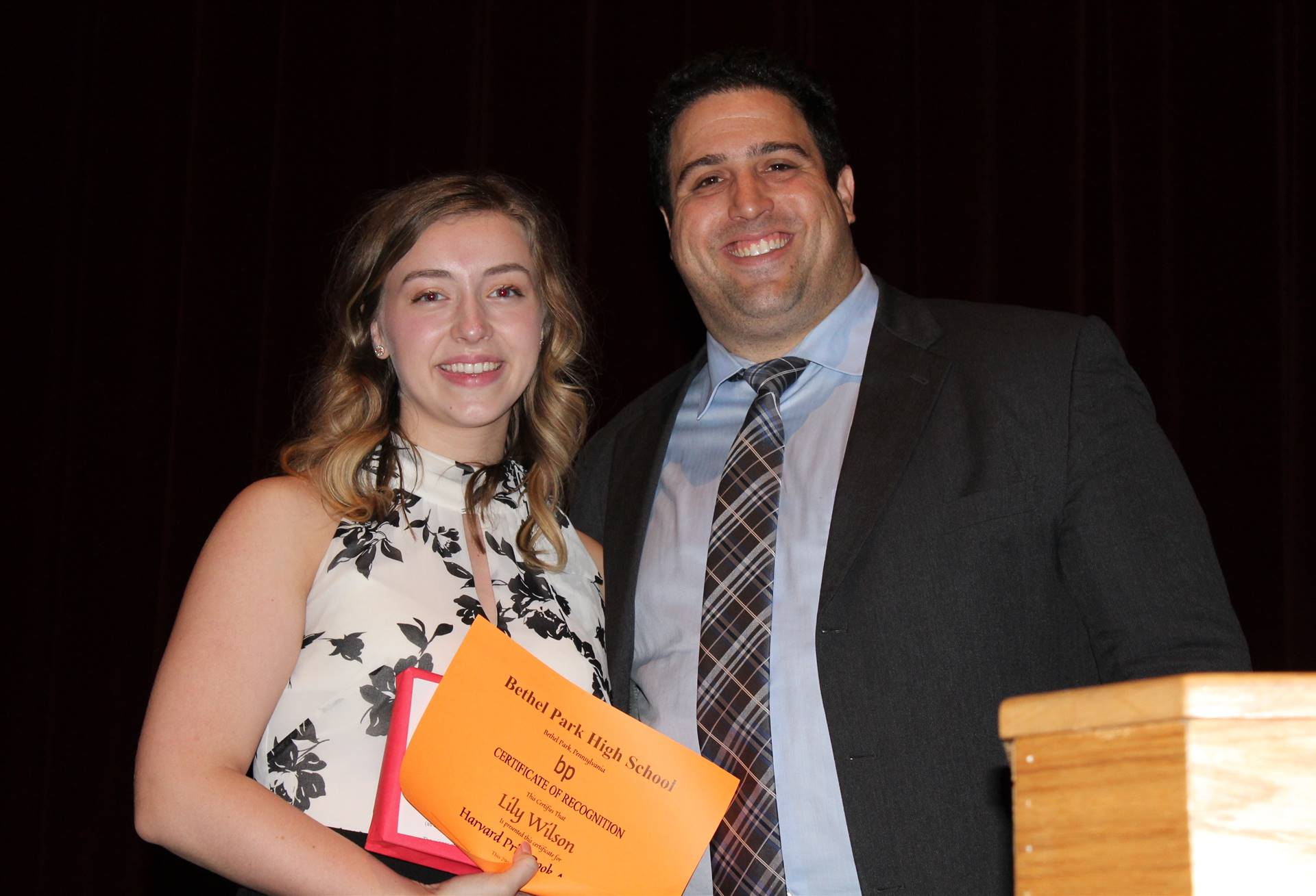 Student receiving a Book Award