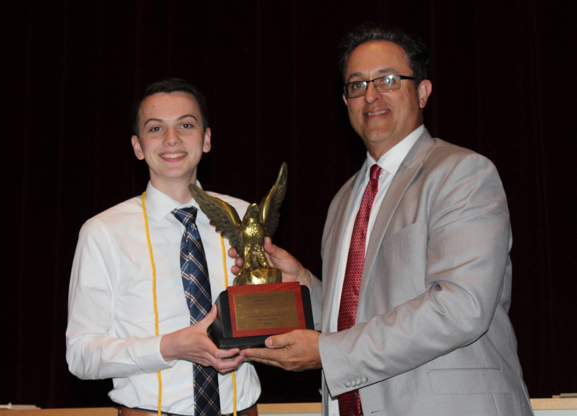Student receiving the Spirit Award