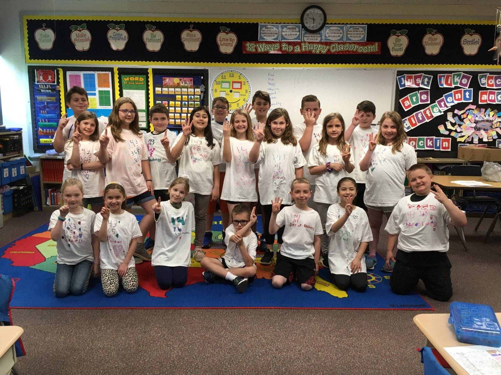 Students wearing their 143 Day t-shirts