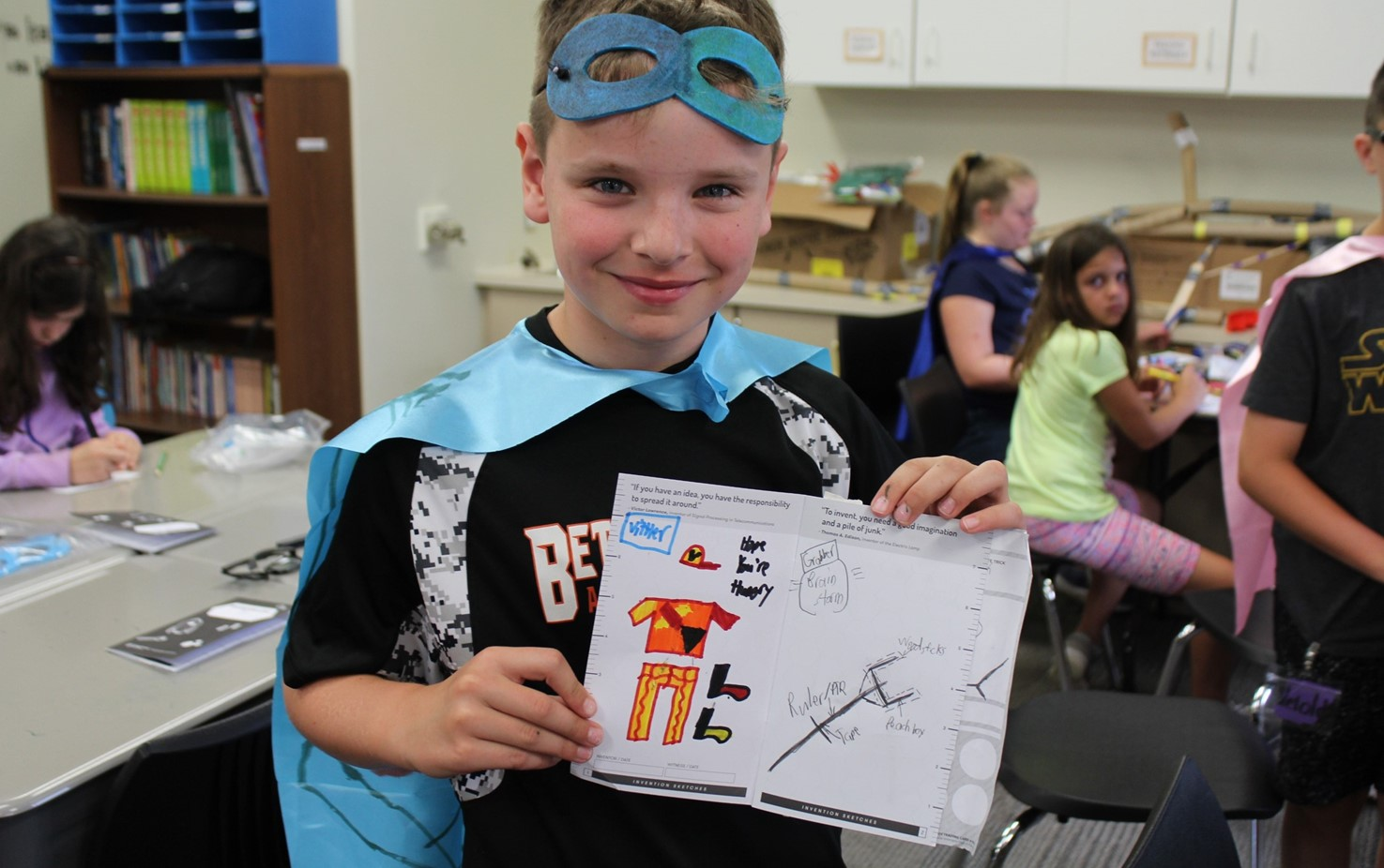 Student dressed as his invention super hero