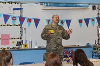 Tech Sgt. Wingert addressing the students