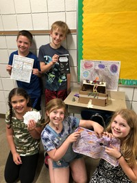 Five students with their project