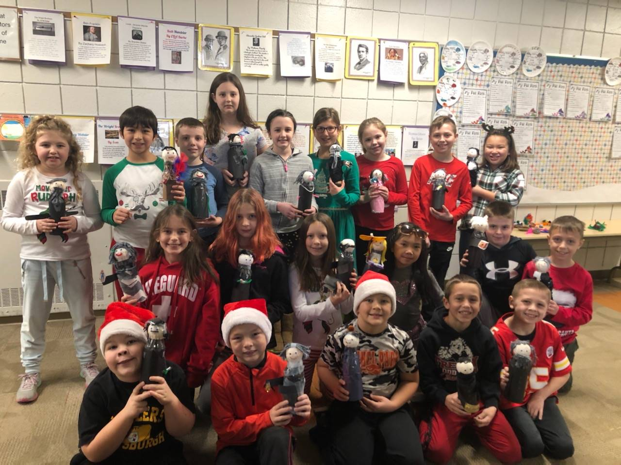 Mrs. Sterbal's class with their bottle creations