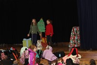 Two students performing in the skit