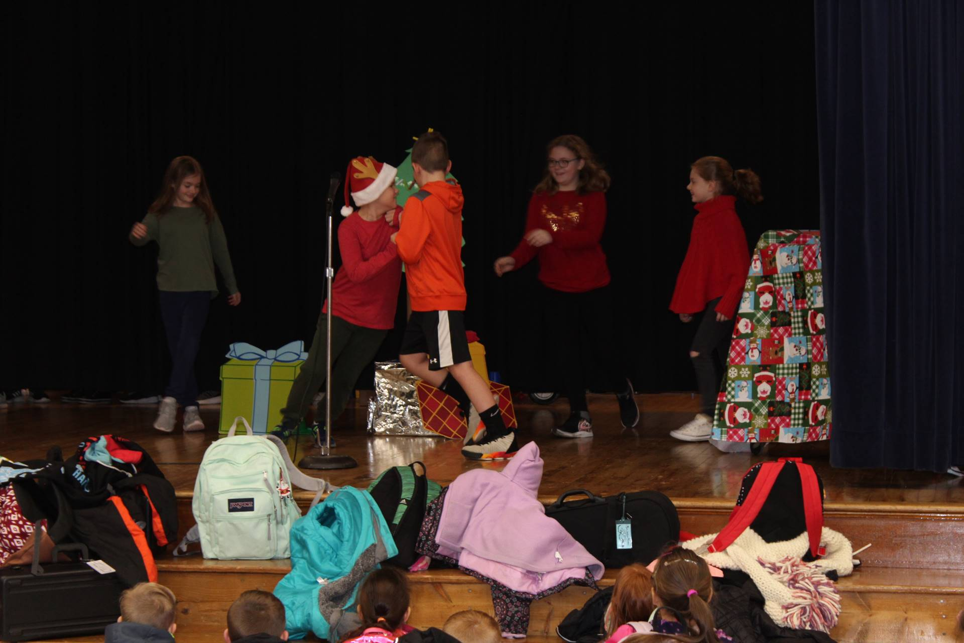 Students performing in the skit