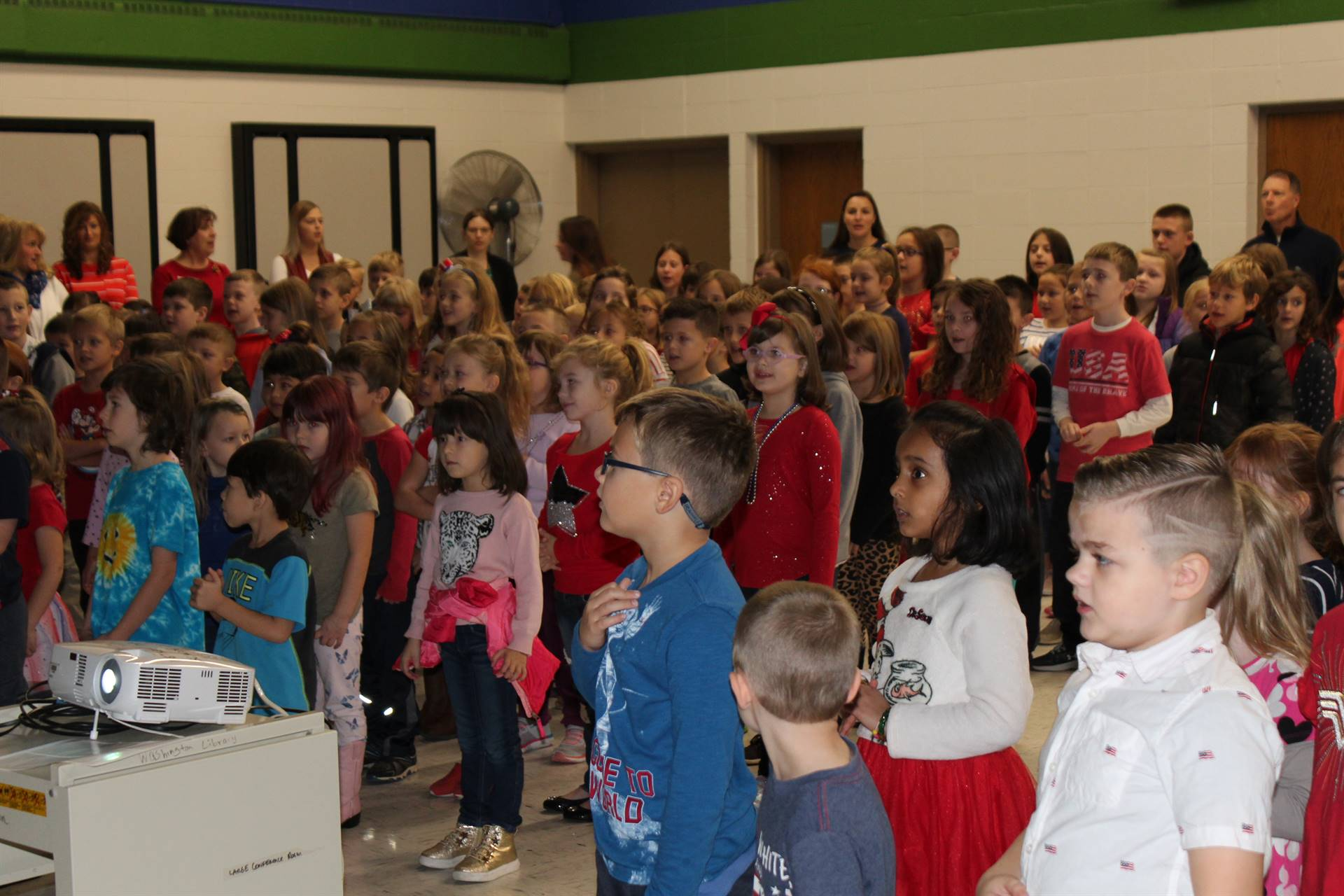 Students reciting the Pledge of Allegiance