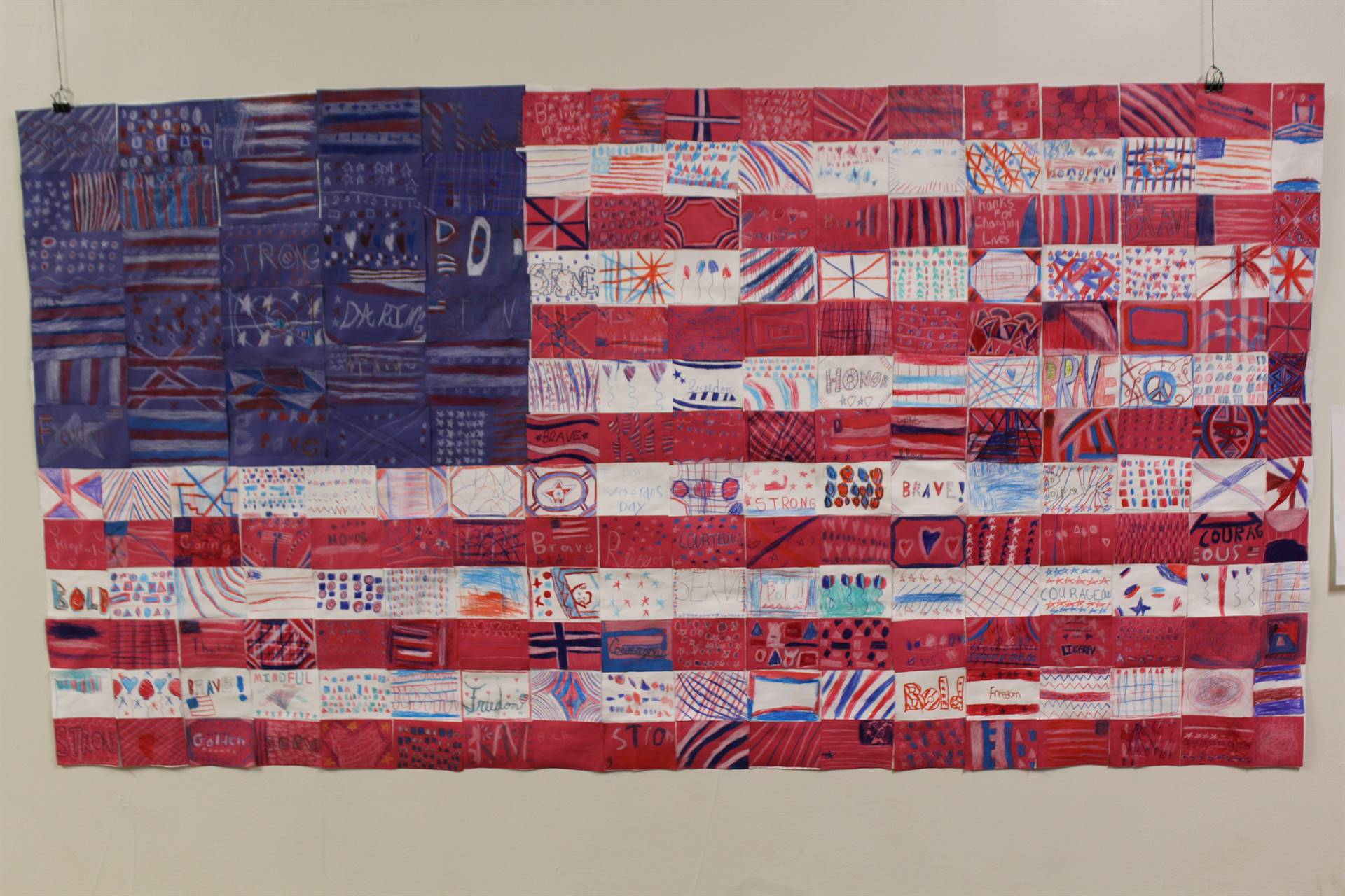 The construction paper mosaic American flag