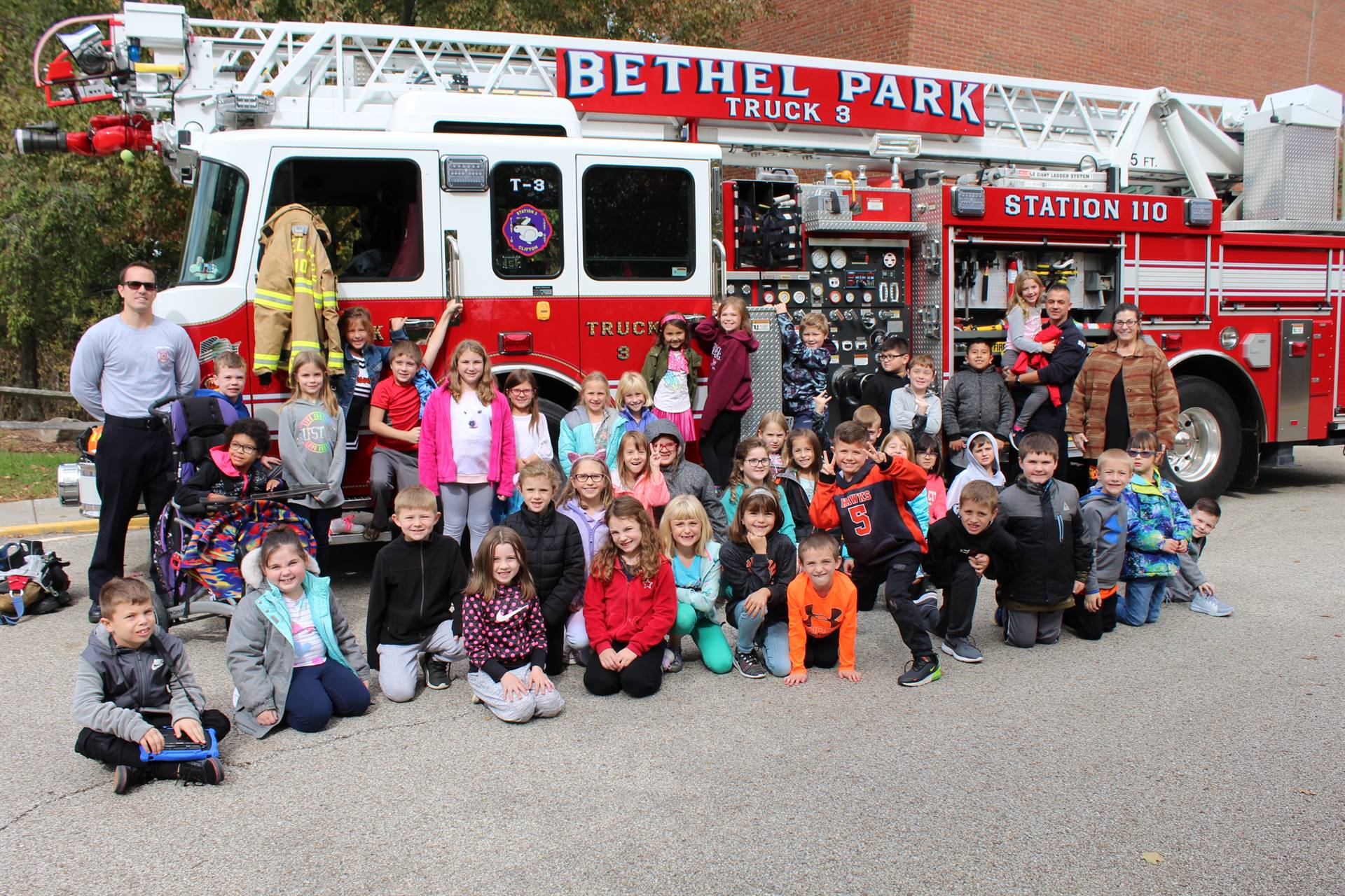 Students in front of the fire truck