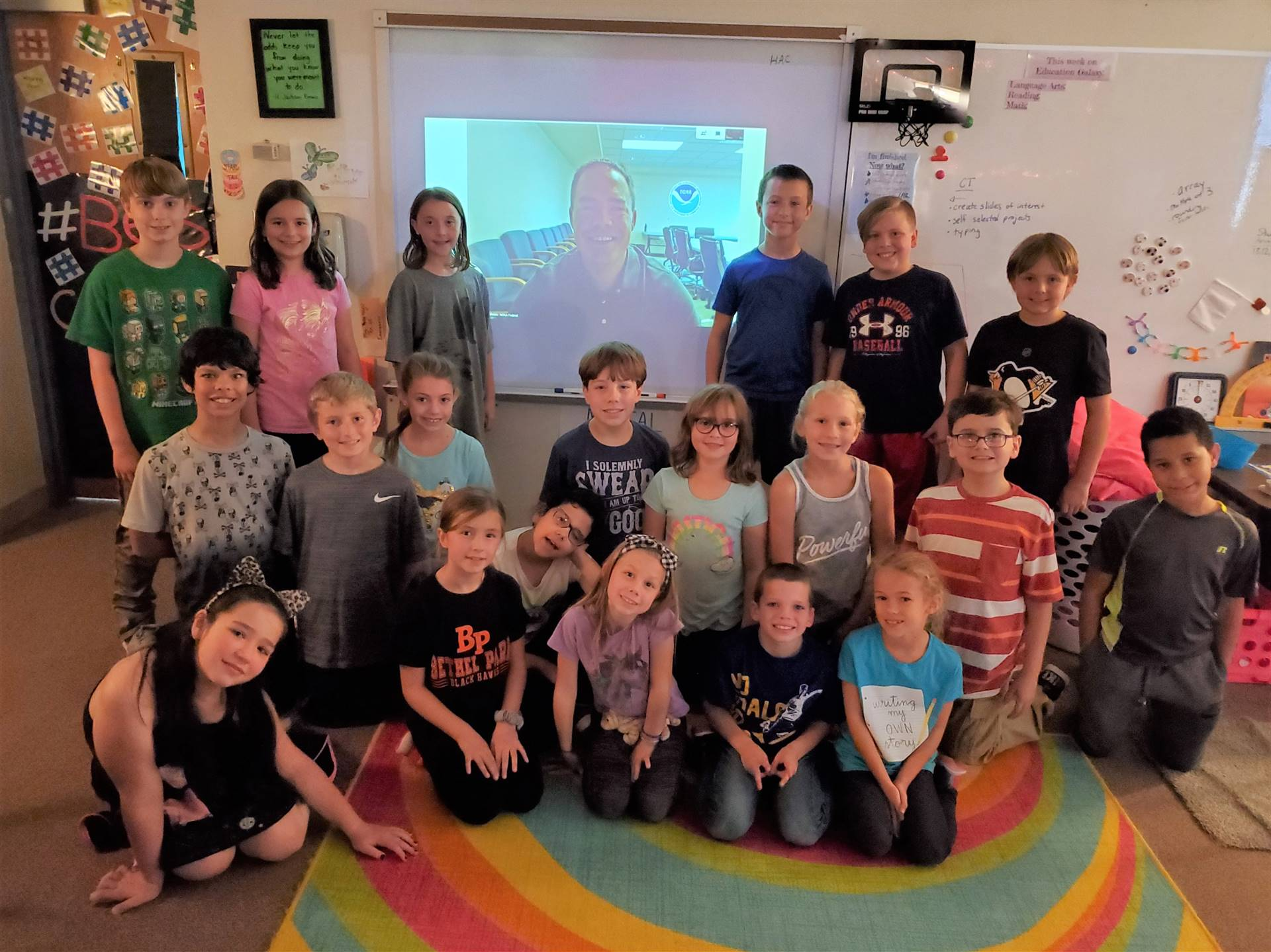 Mrs. Meucci's class Skype with a weatherman in Kansas
