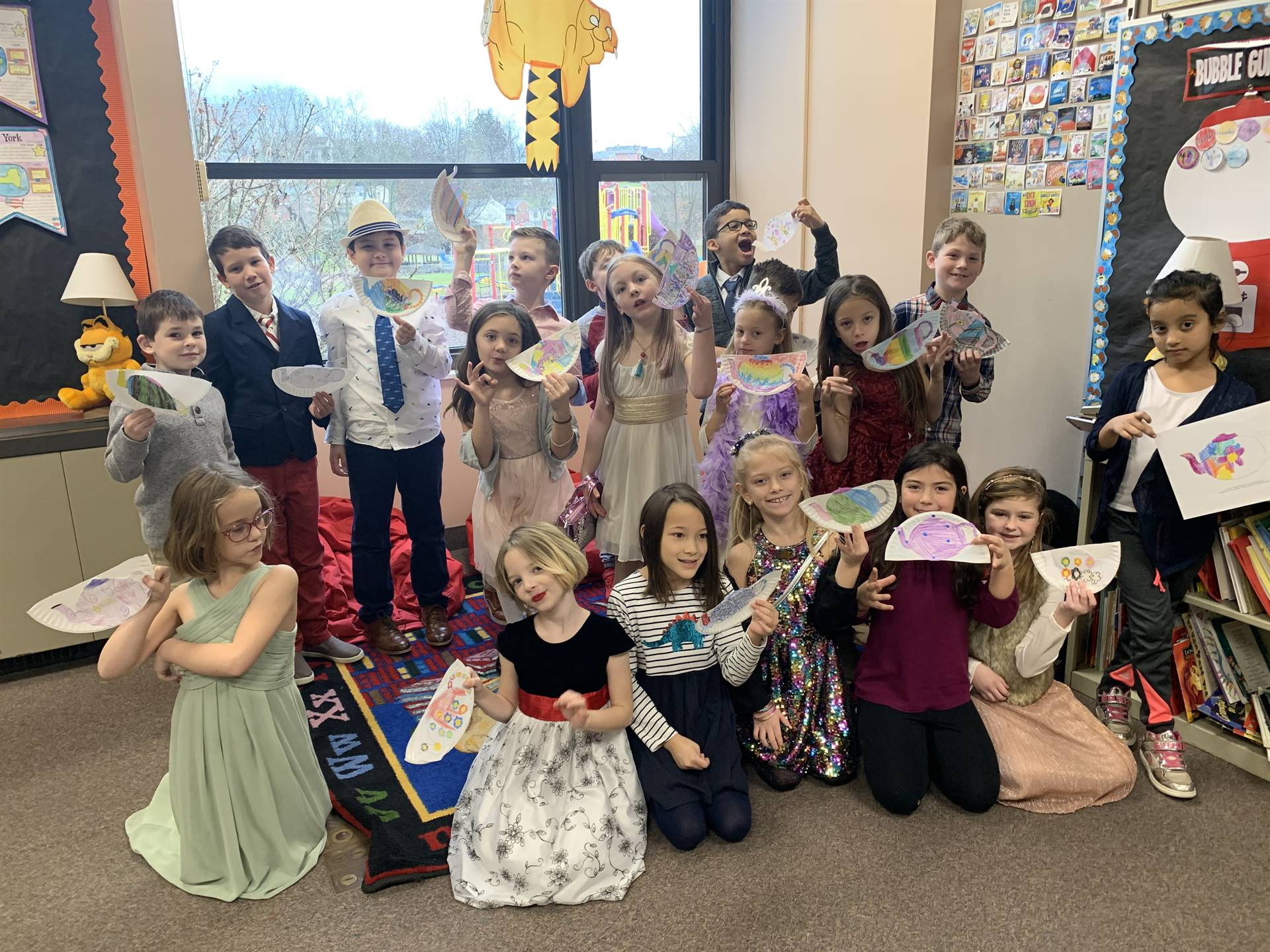 Mrs. Cook's class dressed for a Poetry Tea