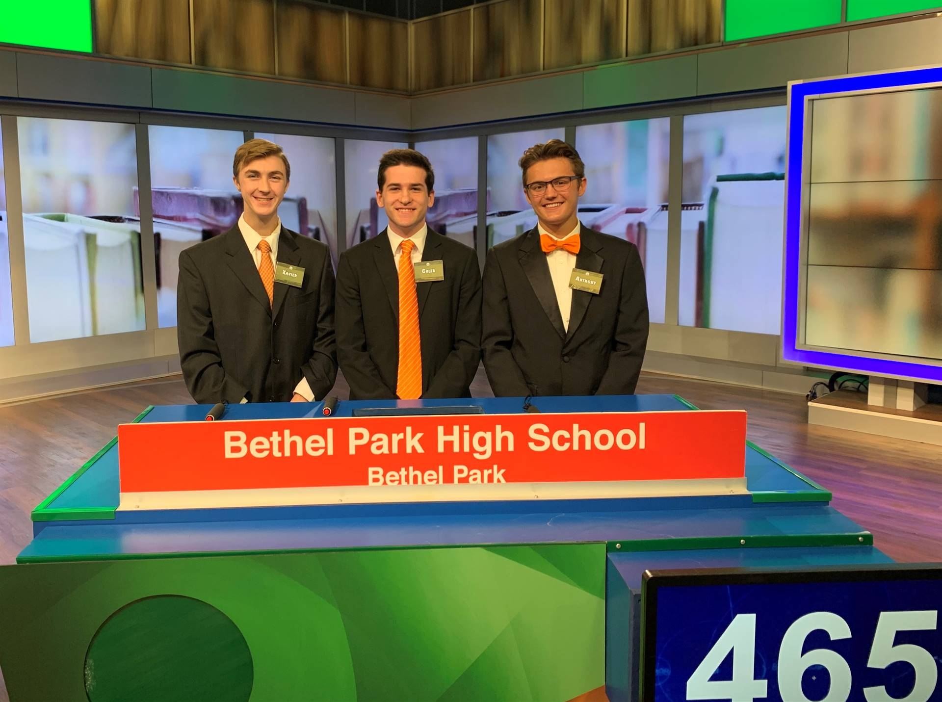 The three students on the Hometown Hi-Q Team