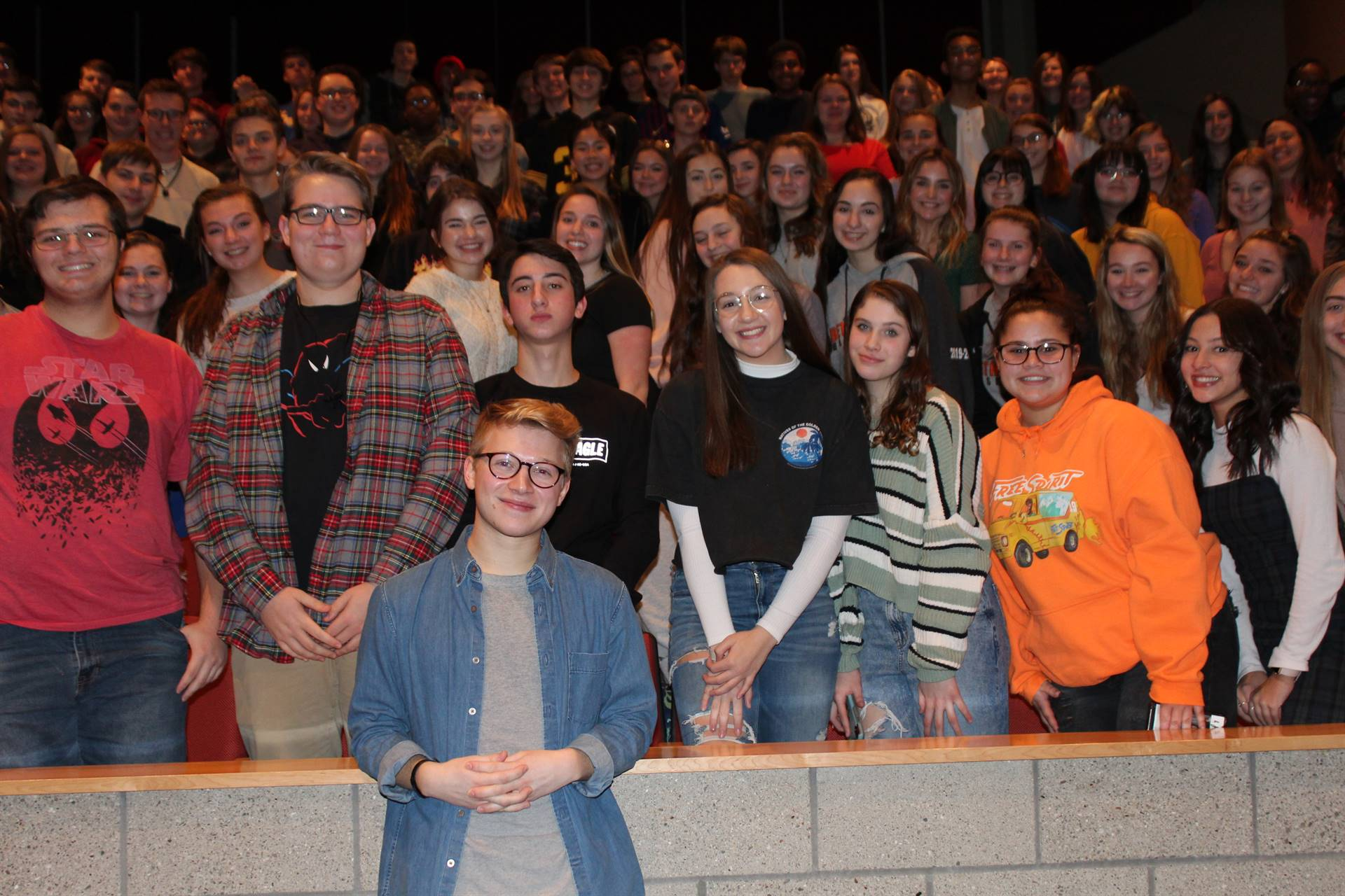 High School Musical: The Musical: The Series star Joe Serafini with BPHS music students
