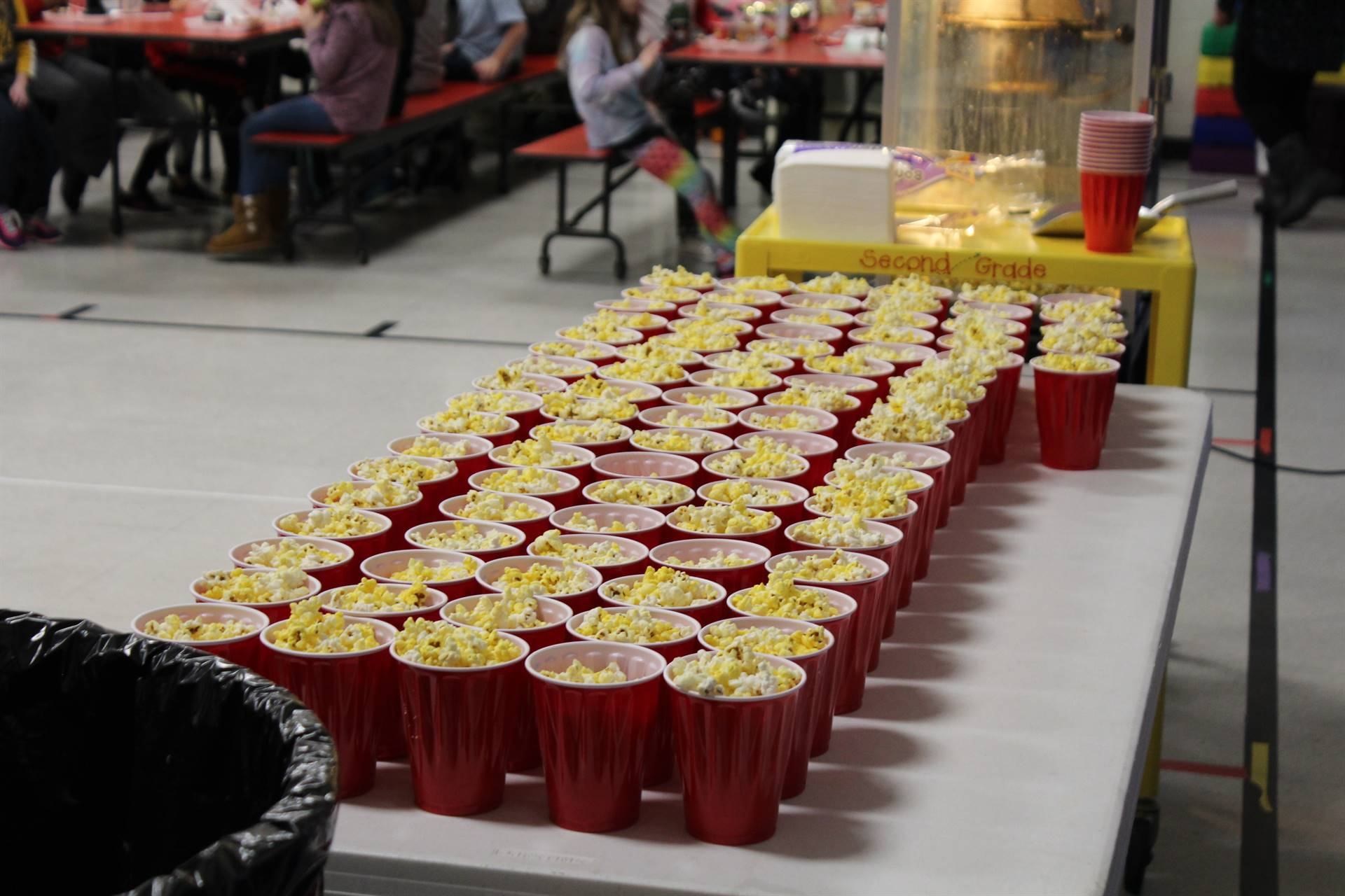 Cups filled with popcorn