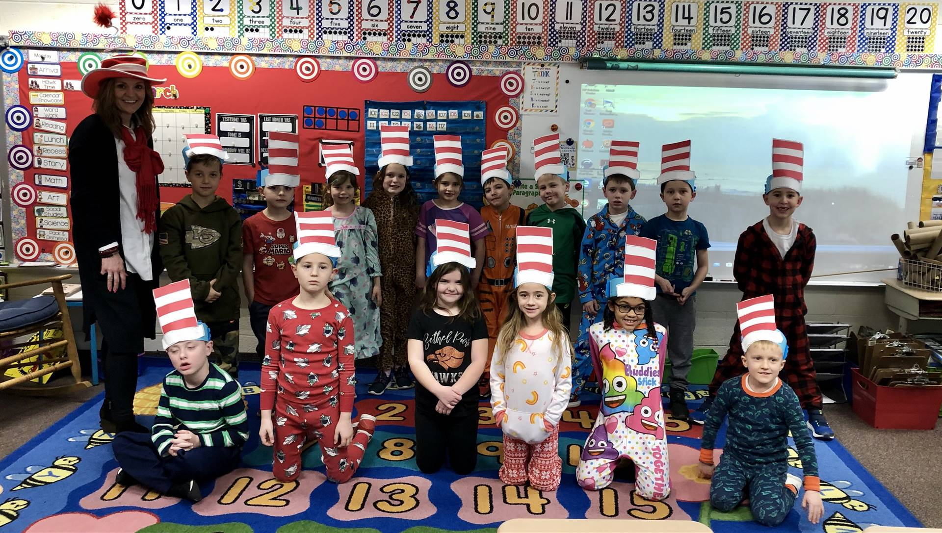 Students wearing Cat in the Hat hats