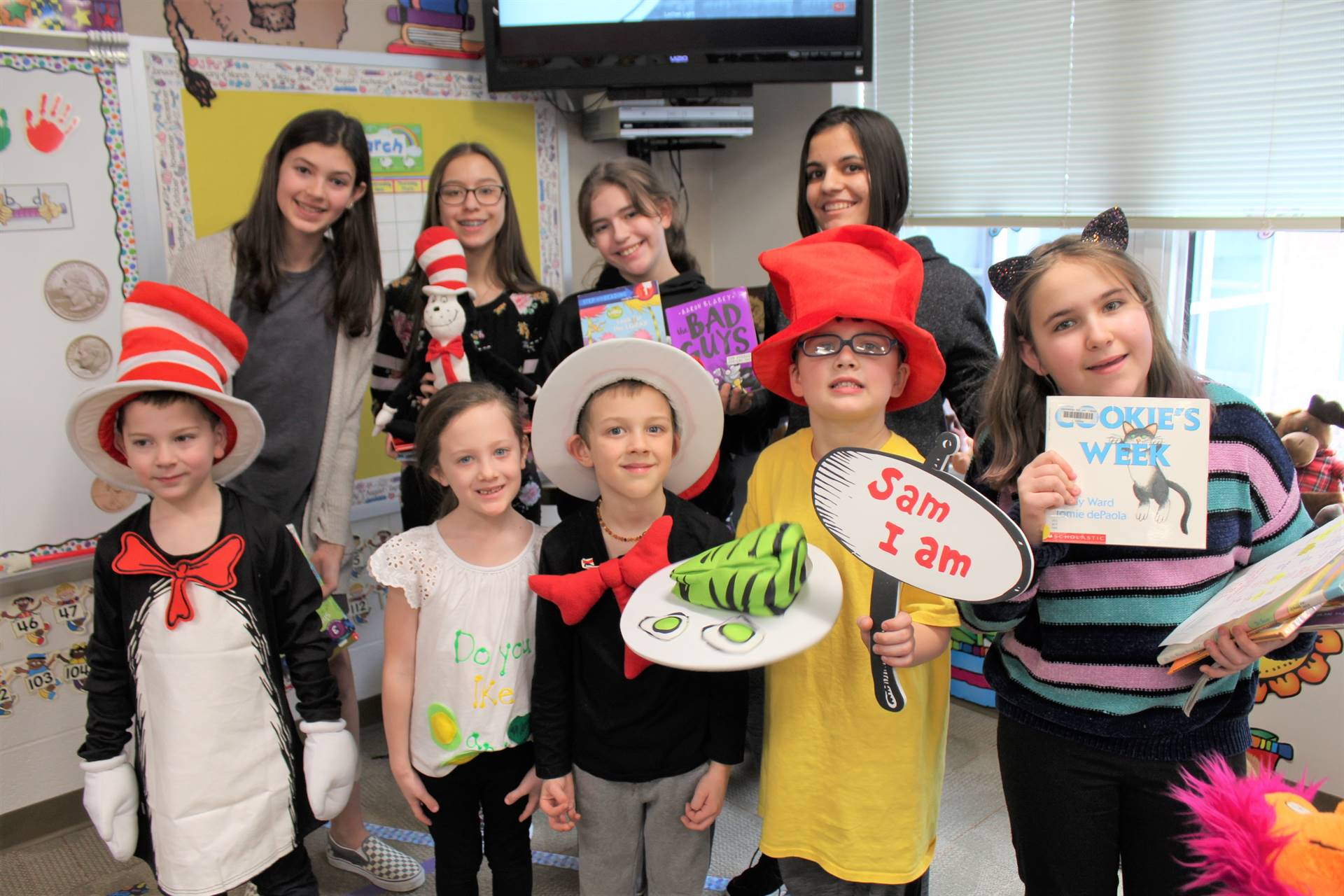 Students dressed like Dr. Seuss characters