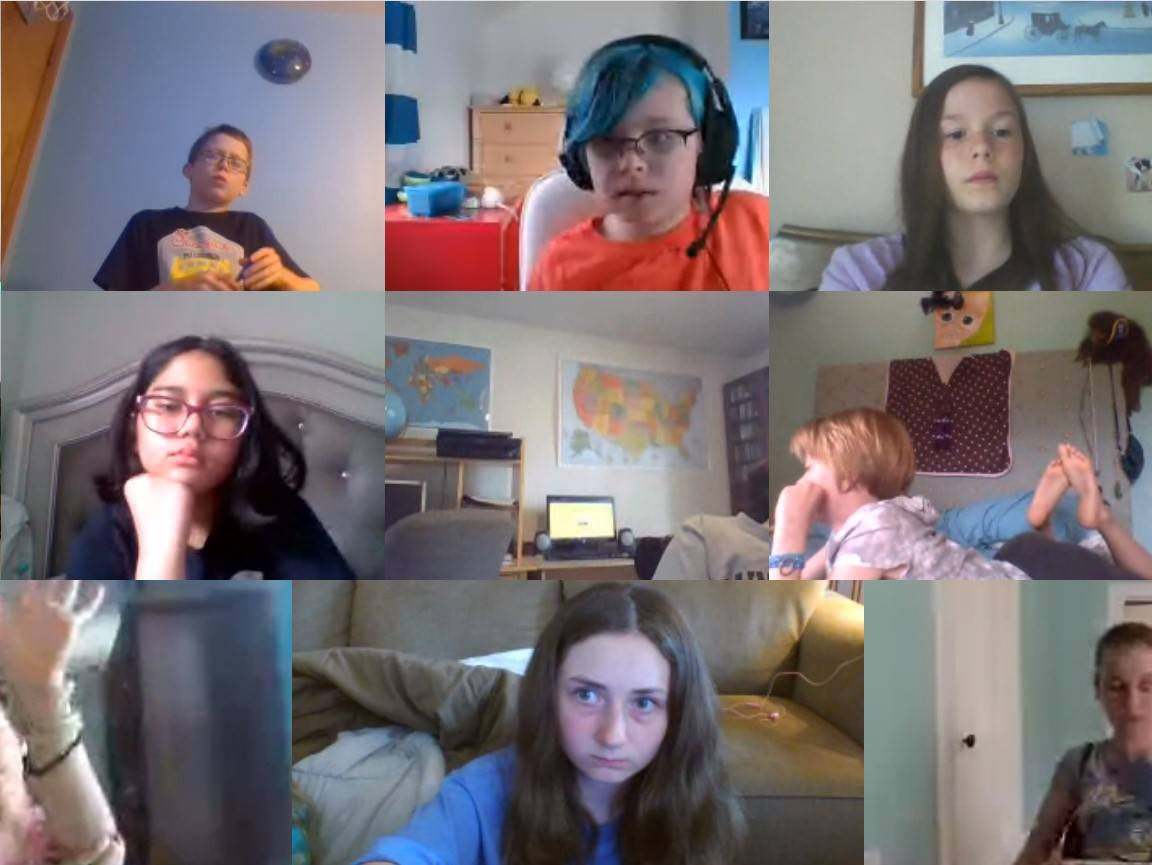 Students participating in a Zoom call