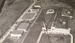 An aerial view of Bethel Park High School in the early 1970s