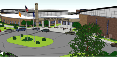 A rendering of the main entrance of the new Bethel Park High School