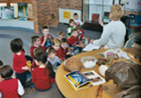 Elementary students sitting in a circle while someone reads them a story